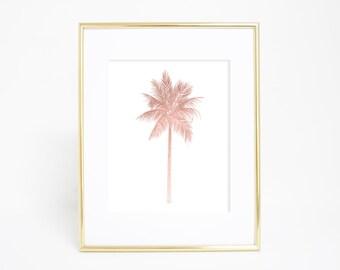 Rose Gold Print, Digital Download Print, Nursery Artwork, Palm Tree Art Print, Palm Artwork, Tropical Decor Tropical Art Print Palm Tree Art