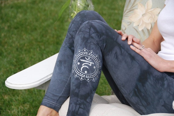Gray Yoga Leggings Hand Dyed from The ArtiZan Collection with Optional Hand Painted Design by Splash Dye Activewear