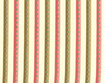 The Circle Line by Holly Holderman for Lake House Dry Goods #LH04029 -- Pink & Bronze Stripe on Cream 100% Cotton