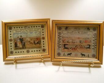 Pair 1990 Framed Scherenschnitte Pictures / Designs with Scissors / Framed Folk Art / Scissor Art