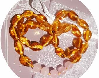 Custom amber necklace with rose quartz 32-34cm