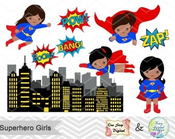 SuperHero Girls Digital Clip Art Supergirl Clipart Cute Supergirl Clipart Superhero Pop Art Text Bubbles Africa American Superhero Girl 0208