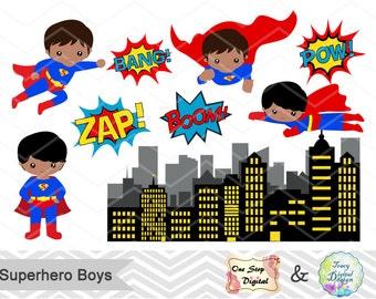 Superhero Little Boy Digital Clip Art Superhero Clipart Superboy Clipart Superhero Pop Art Text Bubble Africa American Superhero Boy 0207