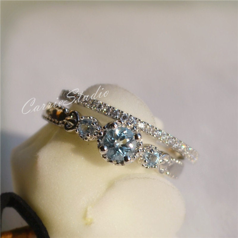 antique natural aquamarine ring set aquamarine engagement ring. Black Bedroom Furniture Sets. Home Design Ideas
