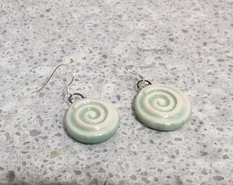 Earrings, Optic Illusion, Porcelain, Sterling Silver