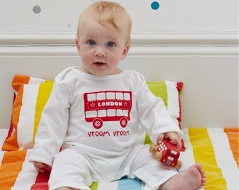 Baby Sleepsuit / Rompersuit with screen printed London Bus design - New Baby Gift, London Baby Gift, Baby Shower Present - Newborn Present