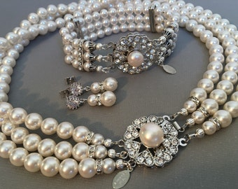 COMPLETE Bridal Jewelry Set with my Jackie O inspired Pearl Necklace Bracelet Earrings 3 multi Strand of Swarovski Pearls wedding jewelry