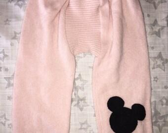100% Cashmere Pale Pink Baby Leggings Longies Pants Longies with Applique - Size 6M