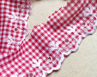 Red and white cotton gingham broderie anglaise lace, one metre