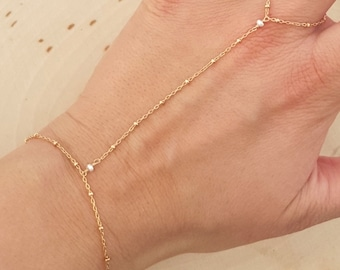Freshwater Pearl and 14k Gold Filled Hand Chain Bracelet with Satellite Chain - Slave Bracelet - Body Jewelry - Tiny Beaded Chain - Boho