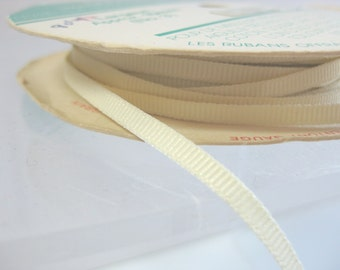 "Vintage Beige Grosgrain Ribbon - 1/8"" (3.5 mm)"