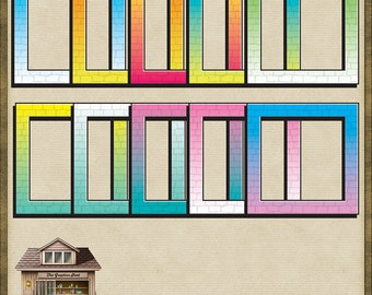 10 Brightly Coloured Brick Cartoon Frames Instant Digital Download