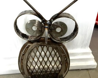 Repurposed Metal Owl Statue