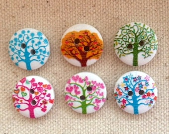 CLOSING SALE 50 pcs Wooden Buttons,Tree of life Wooden Button, Mixed Printed Wooden Buttons, 2-Holes Bout 045