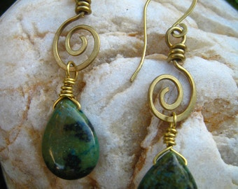 Dangle earrings, chrysocolla stone