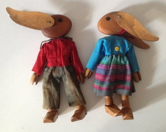 Wooden RABBIT mr and mrs hand made