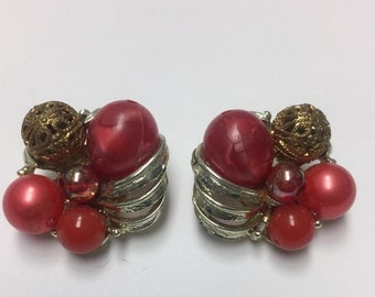 Silver and Beads Clip-on Earring