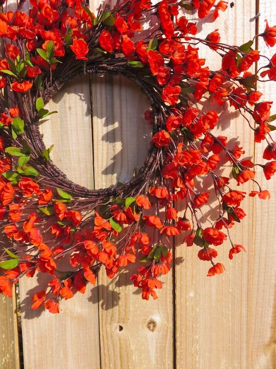 Burnt Orange Spiral Wreath Front Door Wreath Fall Wreath For