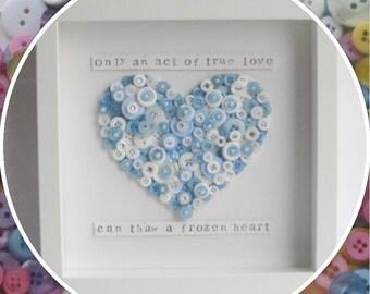 Handmade Frozen Heart Button Frame