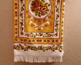 Cannon Bath Towel - Classic Gold Flower Design - Vintage Bath Decor