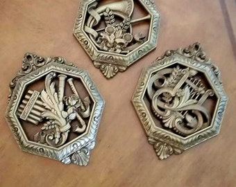 Homco Gold Plaques - Set of 3 -  Kitschy 1970's Wall Decor