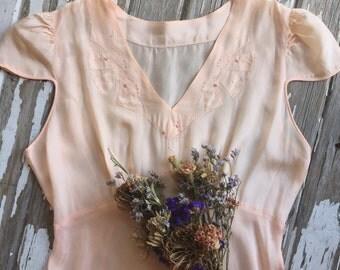 1930s Peach Silk Embroidered Slip Dress
