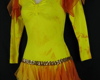1970s Fire Costume-Yellow Danskin Leotard with Sequin skirt, size small