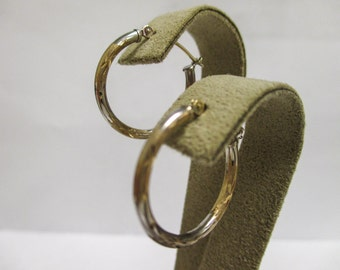 14K TWO Tone Hoop Earrings, .75 inches in diameter