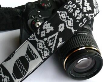 Aztec Camera Strap. DSLR, SLR Camera Strap. Black and Gray Camera Strap. Camera Accessories