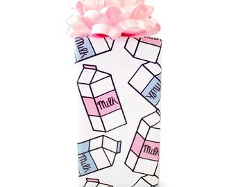 Milk Cartons Gift Wrap, 3-Sheet Roll