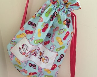 Personalised beach bags - choice of fabrics