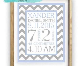 Baby Boy Birth Details, Digital Print, Zig Zag, Wall Hanging, Personalised, Customizable