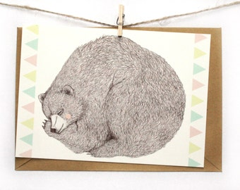 Postcard Greeting Card Sleeping Bear