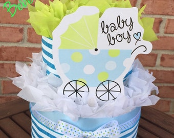 Baby Boy 2 Tier Diaper Cake (blue & green) Baby Shower Gift or Centerpiece