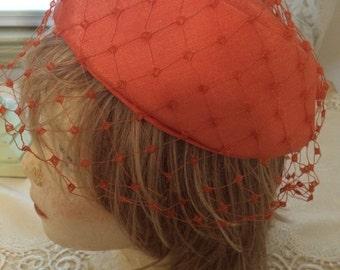 Soft Coral Vintage Hat with Veil
