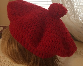 Hand Crocheted Red Beret