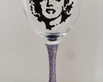 Hand Painted & Glittered Marilyn Monroe Wine Glass