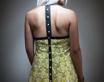 dress woman backless yellow pattern antelopes