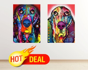 SALE! Basset dog wall decal dog wall sticker dogs poster colorful abstract pop art dog wall art modern dog print poster by dean russo set076