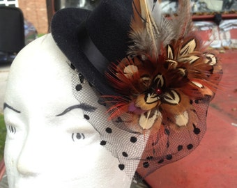 Mini top hat with pheseant feathers