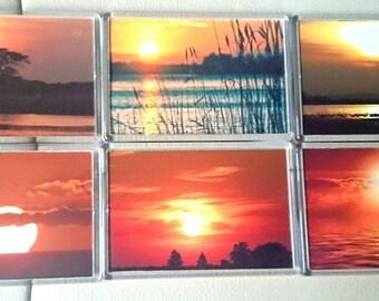 Sunset Skies Fridge Magnet, Set of 6/ Refrigerator Magnets / Kitchen Decor