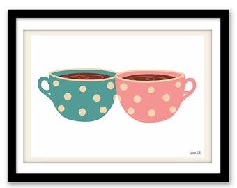 cup print, tea print,  poster print, wall art kitchen, kitchen print, tea time, wall art print, wall art decor, art home, art decor, poster
