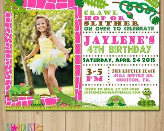Reptile Invitaion, Girl Reptile Birthday Invitation, Lizard Snake Turtle Invitation, Girl Reptile Party, Girl Reptile Invitation, Photo