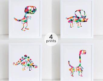 Set 4 Dinosaur Skeleton Print, Cute Dinosaurs Art Print, Nursery Art Print, Nursery Decor, Instant Download, Dinosaurs Wall Art Decor