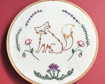 Fox and wildflower embroidery