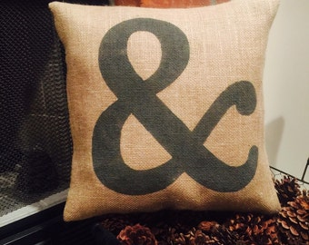 16x16 Burlap Pillow with Ampersand