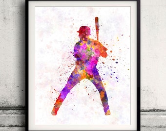 Baseball player waiting for a ball 01-poster watercolor wall art gift splatter sport baseball illustration print Glicée artistic - SKU 0688