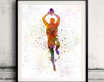 Rugby man player 04 - poster watercolor wall art gift splatter sport soccer illustration print artistic - SKU 1501