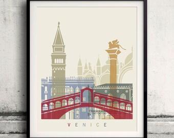 Venice skyline poster - Fine Art Print Landmarks skyline Poster Gift Illustration Artistic Colorful Landmarks - SKU 1857