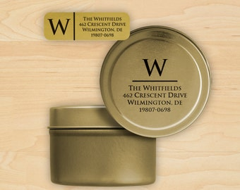 Single Initial Gold Foil Return Address Labels on a Roll with Printed Storage Tin - 3588